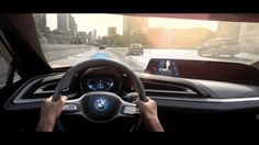 The interior of the future. The BMW i Vision Future Interaction is based on the BMW Concept Spyder. Its high-resolution Head-Up Display reflects the most . Iot Projects, Car Ui, Bmw I8, Head Up Display, New Bmw, Interior Concept, Images Wallpaper, Digital Trends, Augmented Reality