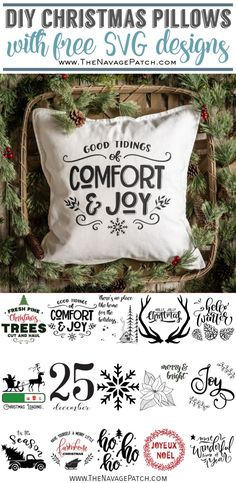 DIY Christmas pillows are easy to make (no sewing!), and they'll bring a ton of holiday cheer into your home this Christmas season! Christmas Loading, Christmas Svg, Christmas Pillow, Christmas Decorations, Christmas Scrapbook, Christmas Images, Christmas Time, Christmas Ideas, Xmax