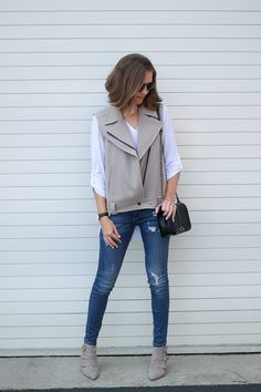 Fall Style: A Belted Moto Vest and Skinny Jeans