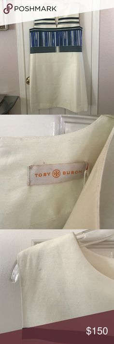 New Tory Burch Plaited Stripe Dress Brand new with tag. Stunning and chic dress. Ivory with the most unique pattern. Fully lined. Hidden back zipper. Shell: 51% Silk, 49% Cotton. Lining: 100% Silk. Beautifully cut dress. Perfect for a day event or even to work if you're in an office with professional dress attire. 2nd pic displays a small mark which will probably come out easily with a magic eraser. Tory Burch Dresses