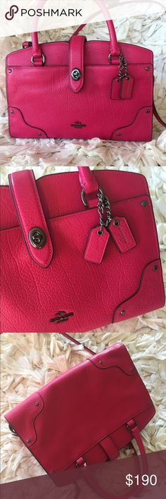 """COACH raspberry Mercer Satchel Can be worn crossbody or by handles. Gorgeous dark pink color with dark silver accents. Pebbled leather. Slip pocket in front. Slip pocket inside. One large zipped inside and one small zip pocket. Dust bag included. DETAILS Grain leather Inside zip and multifunction pockets Turnlock closure, fabric lining Handles with 3 1/4"""" drop Outside turnlock pocket Long strap with 23"""" drop for shoulder or crossbody wear 9 1/2"""" (L) x 6 3/4"""" (H) x 4 3/4"""" (W) Coach Bags…"""