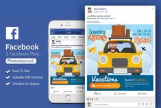 Traveling Agency Facebook Post by Design Up on @creativemarket