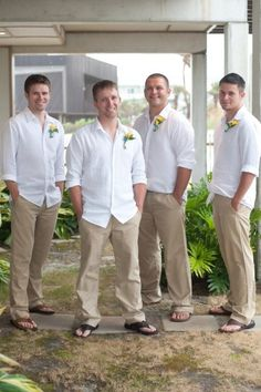 Casual, beach wedding attire for the groomsmen. If your wedding has a casual flair in it, then this could work too. Just change the sandals/slippers to loafers or rubber shoes, depending on the wedding's theme :) Beach Wedding Groom Attire, Beach Attire, Wedding Men, Wedding Ideas, Mens Beach Wedding Shoes, Mens Casual Wedding Attire, Casual Groomsmen Attire, Beach Groom, Simple Beach Wedding