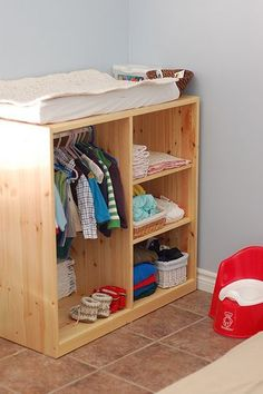 Changing table with storage underneath - DIY - simple, yet practical! #babyclothes