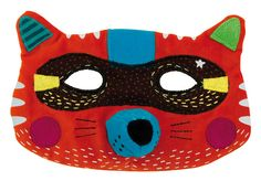 Fox Mask Leonard: Embroidered and printed fabric fox mask. With a vermillion velours base - Moulin Roty Les Mask'ottes