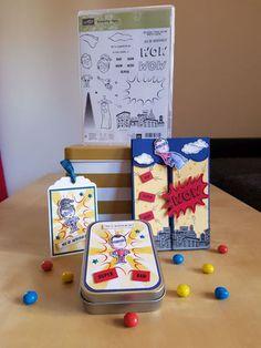 3D-Karte, Geschenkbox and Präsentationsanhänger - Stampin' Up! - Everyday Hero - Jeansblau, Safrangelb, Osterglocke, Glutrot, Blau und Grau - Card, Box and Tag - Dapper Denim, Daffodil Delight, Real Red, Blue and Gray
