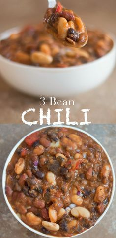Quick and easy game day vegetarian chili recipe made with 3 types of beans. Can be put in a slow cooker or made stove top. This meatless chili is delicious!