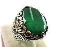 Turkish Handmade Ottoman Style 925 Sterling Silver Agate Men's Ring Size 8.75