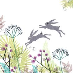 ARTFINDER: March hares in mid June by Jane Ormes - Two leaping hares,high above decorative foliage.Elements from this print were used by Marks and Spencer for some of their Easter packaging in 2012 and Jack Rabbit, Rabbit Art, Rabbit Hole, Hare Illustration, Modern Oil Painting, March Hare, Woodland Creatures, Painting Inspiration, Printmaking