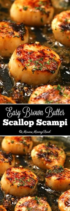 Easy Brown Butter Scallop Scampi - Delectable garlic scallops, seared to a golden perfection in browned butter and garlic and just a few other simple ingredients that make this a simple must make meal. Food Recipes For Dinner, Food Recipes Keto Fish Recipes, Seafood Recipes, Great Recipes, Cooking Recipes, Favorite Recipes, Seafood Appetizers, Hallumi Recipes, Hotdish Recipes, Entrees