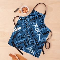 """Blue Rock Pop R & B Music Text Pattern"" Apron by HavenDesign 