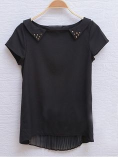 Black Short Sleeve Stud Embellished Collar Pleated Back Blouse - Sheinside.com $28