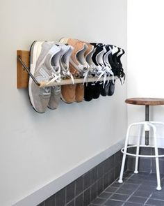 27 Cool & Clever Shoe Storage Ideas for Small Spaces - Simpl.- 27 Cool & Clever Shoe Storage Ideas for Small Spaces – Simple Life of a Lady 22 Cool & Clever Shoe Storage Ideas for Small Spaces – Simple Life of a Lady - Shoe Storage Small, Wall Storage, Bedroom Storage, Diy Storage, Storage Spaces, Shoe Storage Ideas For Small Spaces, Clever Storage Ideas, Small Shoe Rack, Wall Mounted Shoe Storage