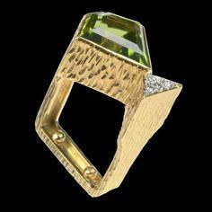GRIMA Sculptural Gold, Diamond & Peridot Cocktail Ring (London)
