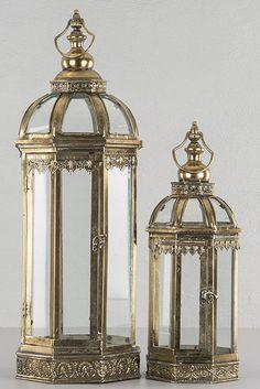 GARTENLATERNE LATERNE ANTIK LANDHAUSSTIL METALL GLAS SHABBY TEELICHT WINDLICHT