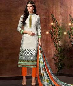 Buy Beige Cotton Pakistani Style Suit 72287 online at lowest price from huge collection of salwar kameez at Indianclothstore.com.