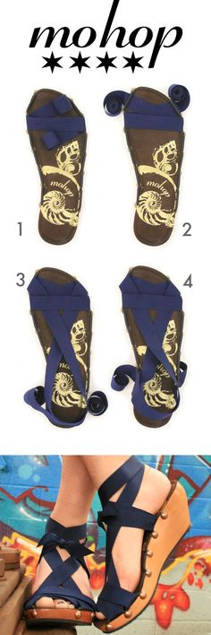 "Mohop Interchangeable Ribbon Sandals  ★  6-loop peeptoe wedge styled with 7/8"" ribbon   ★ Handmade in USA!"