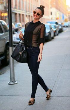 ミランダ・カーはレオパード柄のタッセル付きローファーでキュートな大人スタイル!ローファーのコーデ・スタイル・ファッション♪