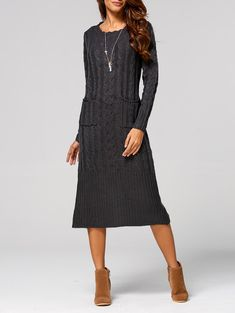 Cable-Knit Pocket Design Back Slit Dress