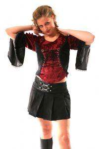 Gothic Long Sleeved Velvet Lace-up Top or Black Buckled Waist Cotton Mini Skirt~Bares~110D-3045~