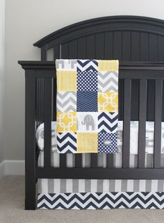 Custom Crib bedding  Yellow Navy Blue and by GiggleSixBabyBlanket, $441.00