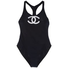 CHANEL VINTAGE SWIMMING SUIT (1.970 RON) ❤ liked on Polyvore featuring swimwear, one-piece swimsuits, chanel, swimsuits, tops, swim, vintage swimsuit, vintage one piece swimsuit, black swim suit and vintage swim suit