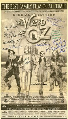 THE-WIZARD-OF-OZ-1998-Autographed-60th-Anniversary-Newspaper-Ad-by-10-MUNCHKINS