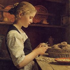 """Girl Peeling Potatoes"" Albert Anker (1831-1910) was a Swiss painter and illustrator who has been called the ""national painter"" of Switzerland because of his enduringly popular depictions of 19th-century Swiss village life."