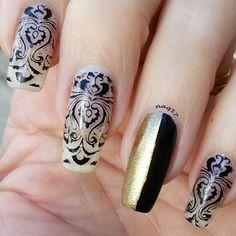 damask nail art design 1/10/2016