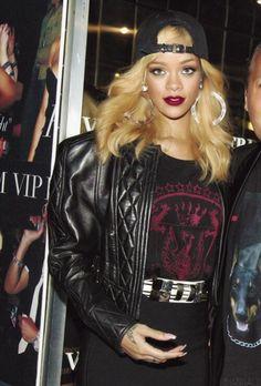 Rihanna - Black Cap, Dangle Hoops Earrings, Leather Balmain Jacket, Printed T-Shirt, White & Silver Balmain Belt & High-Waisted Balmain Skirt