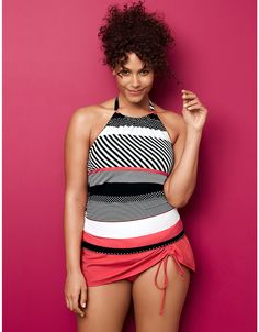 40% off...Striped Strappy Swim Tank with built in no wire Bra by Cacique | Lane Bryant