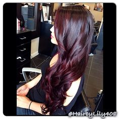 Still obsessing over purple hair. Purple Hair Color Ideas - Shades Of Purple Hair Color Shades, Hair Color Purple, Hair Color And Cut, Black Cherry Ombre Hair, Dark Cherry Hair Color, Black To Red Hair, Winter Hair Colour, Cherry Coke Hair, Aubergine Hair Color