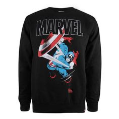 Marvel Mens - Captain America Strike - Crew Sweat - Black - X-Large / Black