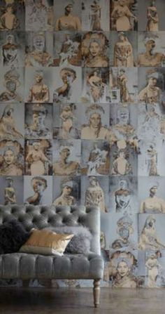 This really works with the background and figure colour blend.  I would actually use this in a small space, such as a closet restroom - it would be so quirky and original.  The Trove August Wallpaper Features Portraits of Former Royal Queen #wallpaper trendhunter.com