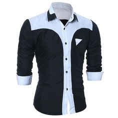 Fashion Men Patchwork Long-Sleeved Shirt Casual Slim Men Shirt Plus Size XXXL