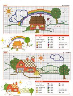 farm and house Cross Stitch House, Small Cross Stitch, Cross Stitch Charts, Cross Stitch Designs, Cross Stitch Embroidery, Cross Stitch Patterns, Art Hama, Cross Stitch Beginner, Beaded Animals