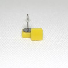 Yellow Square Surgical Steel Glass Stud Earrings
