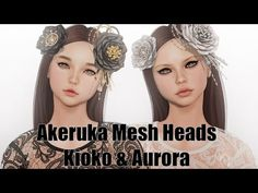 Akeruka Kioko & Aurora Female Mesh Heads in Second Life Full style details and more information on my blog: http://strawberrysingh.com/2016/09/28/...