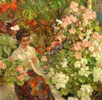 In the conservatory by Frederic John LLoyd Strevens
