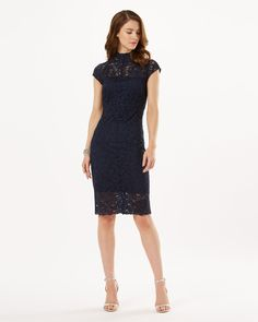 A contemporary occasionwear dress from our spring/summer collection. The fitted dress features a high round neckline with a semi-sheer yoke and sheer detail at the hem. Complete with a part stretch woven lining and a centre back zip.