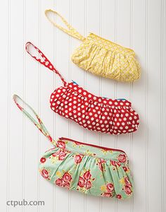 Gathered Clutch Purses or Pouches - a free pdf sewing pattern and tutorial from Sue Kim at CTPub!