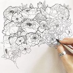 tonal floral drawing - Google Search