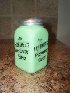 Vintage McKee Jadeite Huether's Advertising Range Shaker-Jadite #McKee