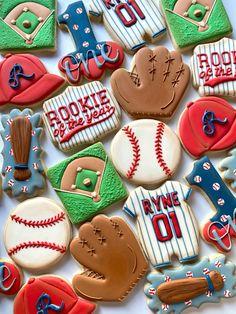 First Birthday Cookies, Boys First Birthday Party Ideas, 1st Birthday Pictures, Baby Boy First Birthday, 4th Birthday Parties, Baseball Theme Birthday, Baseball Cookies, Port Orange, Cookie Designs