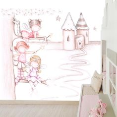Decoración infantil Il Mondo di Alex, Papel mural efecto pintado a mano, HADAS Y CASTILLO ... personalizado con nombre o frase y a medida. Girl Decor, Baby Decor, Fairy Room, Art Simple, Magic Design, Wall Drawing, Kids Artwork, Baby Cartoon, Baby Art