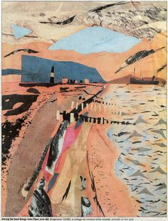 John Piper collage Stunning colours and use of perspective to draw your eye in Collage Landscape, Abstract Landscape, Landscape Paintings, Landscapes, Edward Hopper, John Piper Artist, Illustrations, Illustration Art, Sense Of Place