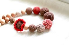 Nursing necklace - All natural Boho chic crochet Breastfeeding necklace - in red, capuccino biege and chocolate brown by kangarusha