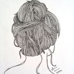These ink doodles capture the natural movement (and messiness) of hair-dos.