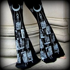 Flare Flow Dance Pants ~ Tarot Moon Occult Witchy Alchemy Symbols ~ Bellydance Hooping Bell Bottoms Witchcraft Burning Man Festival Stretchy