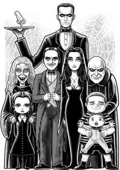 The Addams Family by Thuddleston on DeviantArt The Addams Family adams Addams Family Tattoo, The Addams Family, Addams Family Costumes, Comic Cat, Family Drawing, Family Illustration, Family Tattoos, Gothic Art, Dark Fantasy Art